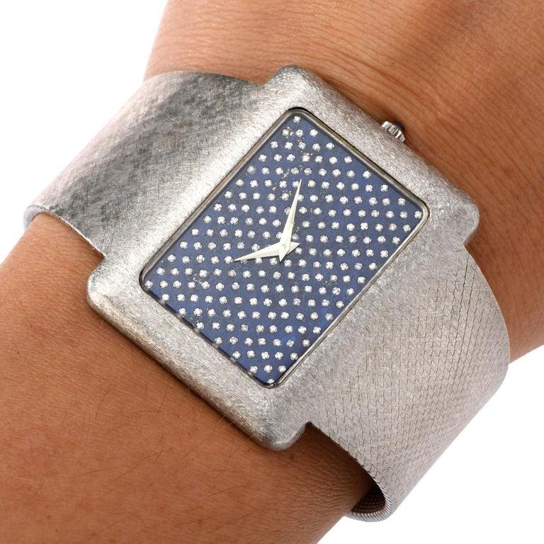 1970s Extra Large Corum Diamond Lapis Chrome Watch For Sale 2