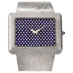 1970s Extra Large Corum Diamond Lapis Chrome Watch