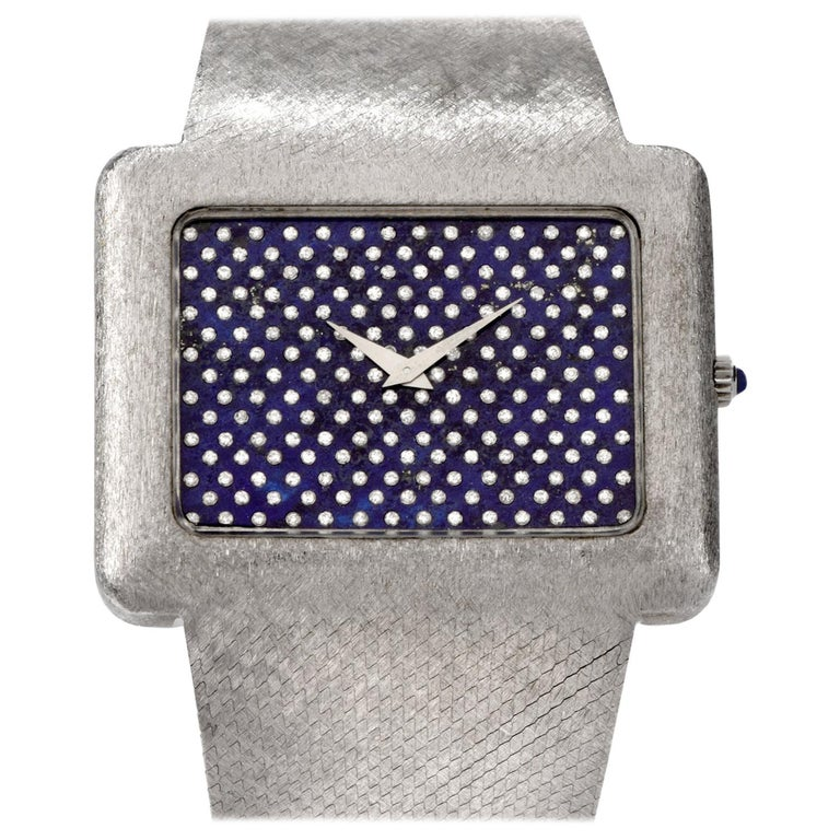 1970s Extra Large Corum Diamond Lapis Chrome Watch For Sale
