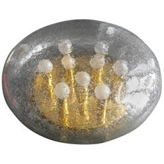 1970s Extra Large WKR Mushroom Ceiling or Wall Glass Lamp with Brass Base