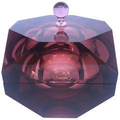 1970s Faceted Prism Ice Bucket in Rare Amethyst Lucite, Italy