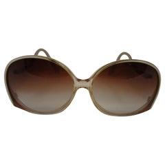 1970's Fantastic Pierre Cardin Amber Lens and Ivory Framed Sunglasses