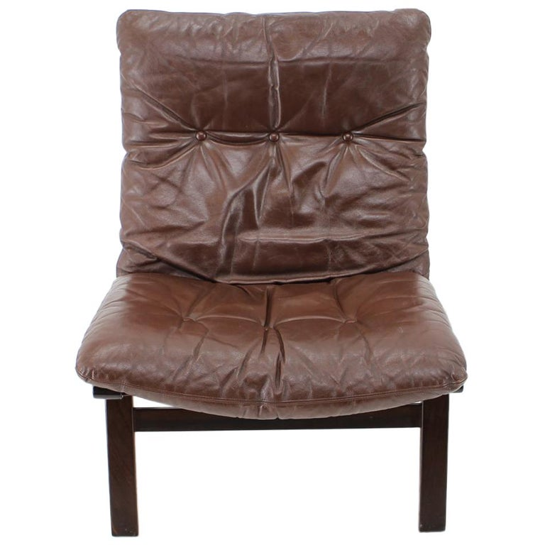 1970s Farstrup Leather Lounge Chair, Denmark For Sale