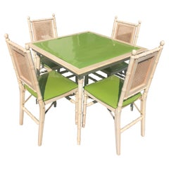 1970s Faux Bamboo Game Table with Four Chairs