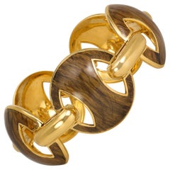 "1970s ""Faux Bois"" Enamel and Gold Link Bracelet"