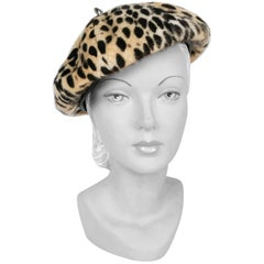 1970s Faux Fur Cheetah Print and Vegan Leather Beret