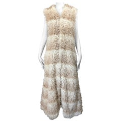 1970s Faux Fur Ivory + Tan Striped Vintage 70s Long Boho Shag Maxi Vest
