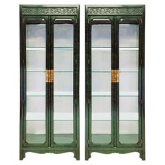 1970s Faux Malachite Asian Style Cabinets By Henredon -A Pair