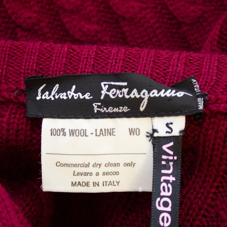 Women's or Men's 1970's Ferragamo Ribbed & Cable Burgundy Knit Cardigan For Sale