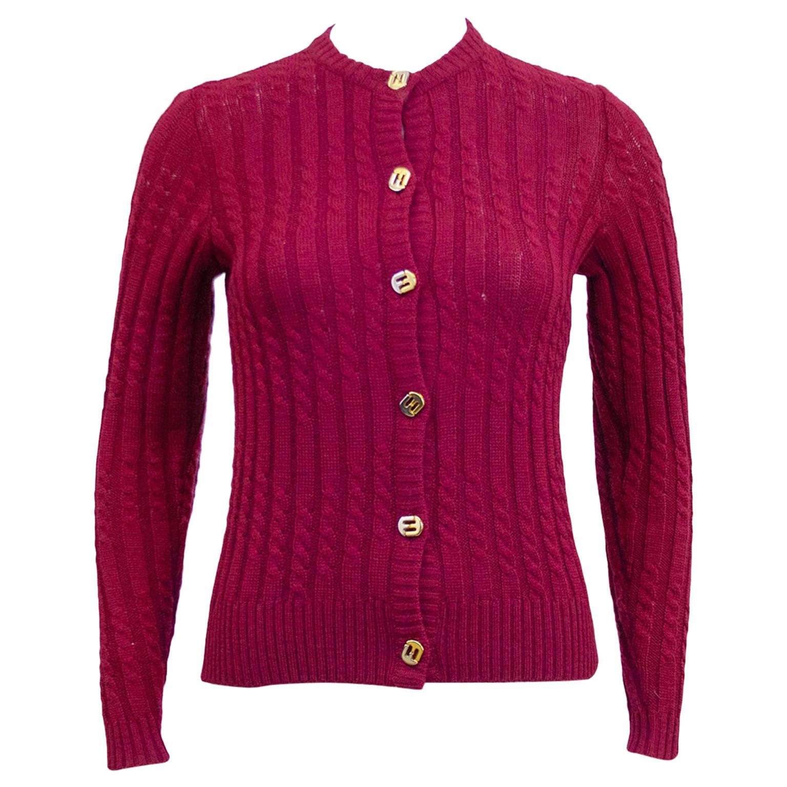 1970's Ferragamo Ribbed & Cable Burgundy Knit Cardigan
