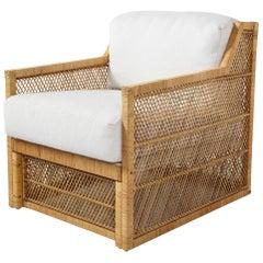 1970s Ficks Reed Woven Wicker Lounge Chair