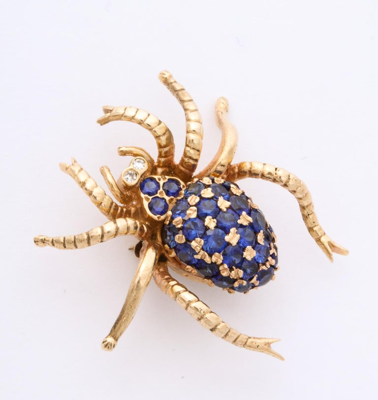 Round Cut 1970s Figural Spider Sapphire and Diamond Gold Brooch For Sale