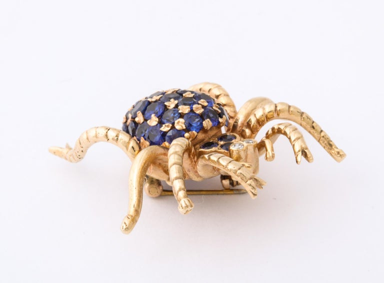 1970s Figural Spider Sapphire and Diamond Gold Brooch For Sale 3