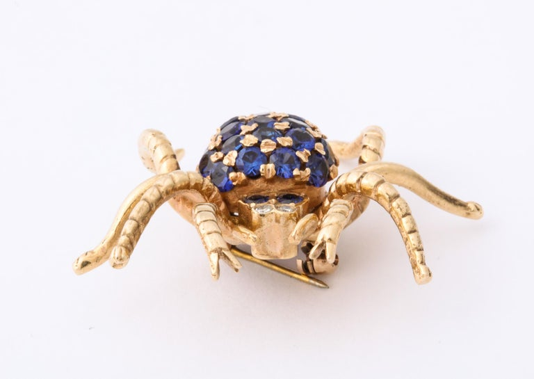 1970s Figural Spider Sapphire and Diamond Gold Brooch For Sale 4