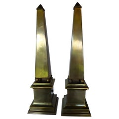 1970s Fine Modern French Empire Style Pair of Brass Obelisks