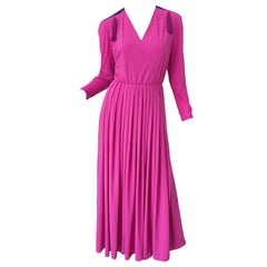 1970s Fink Modell Hot Pink Tassel Rayon Jersey Vintage 70s Maxi Dress Gown