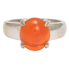1970s Fire Opal Solitaire Ring