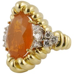 1970s Fire Opal, Yellow Gold and Diamond Ring
