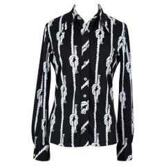 1970s Fitted Black & White Knotted Rope Print Jersey Blouse Size S