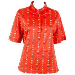 1970s Flags Celine Multico Cotton Polo Shirt