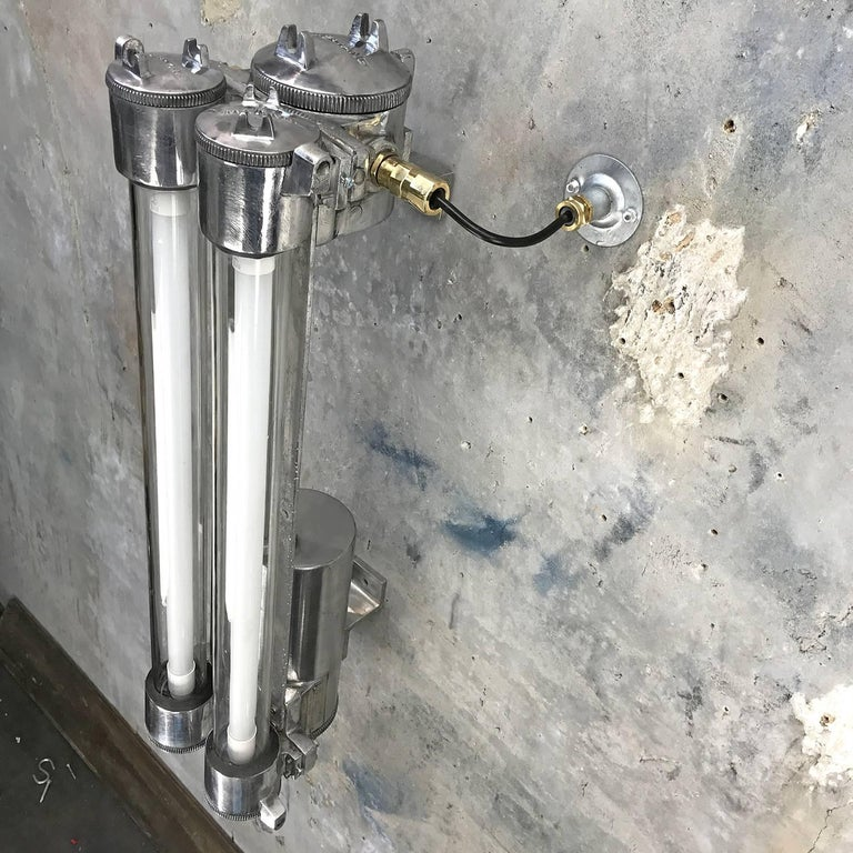 1970s Flame Proof Industrial Cast Aluminium, Glass and Brass Wall Light For Sale 7