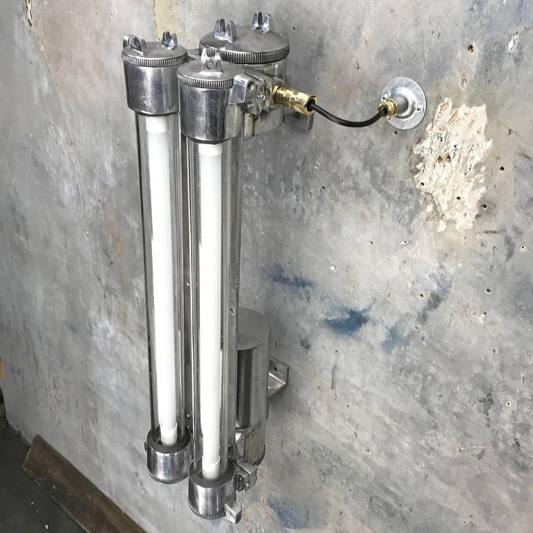 1970s Flame Proof Industrial Cast Aluminium, Glass and Brass Wall Light For Sale 8