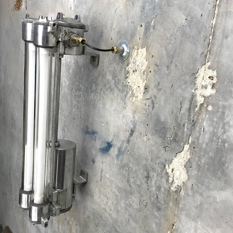 1970s Flame Proof Industrial Cast Aluminium, Glass and Brass Wall Light For Sale 9