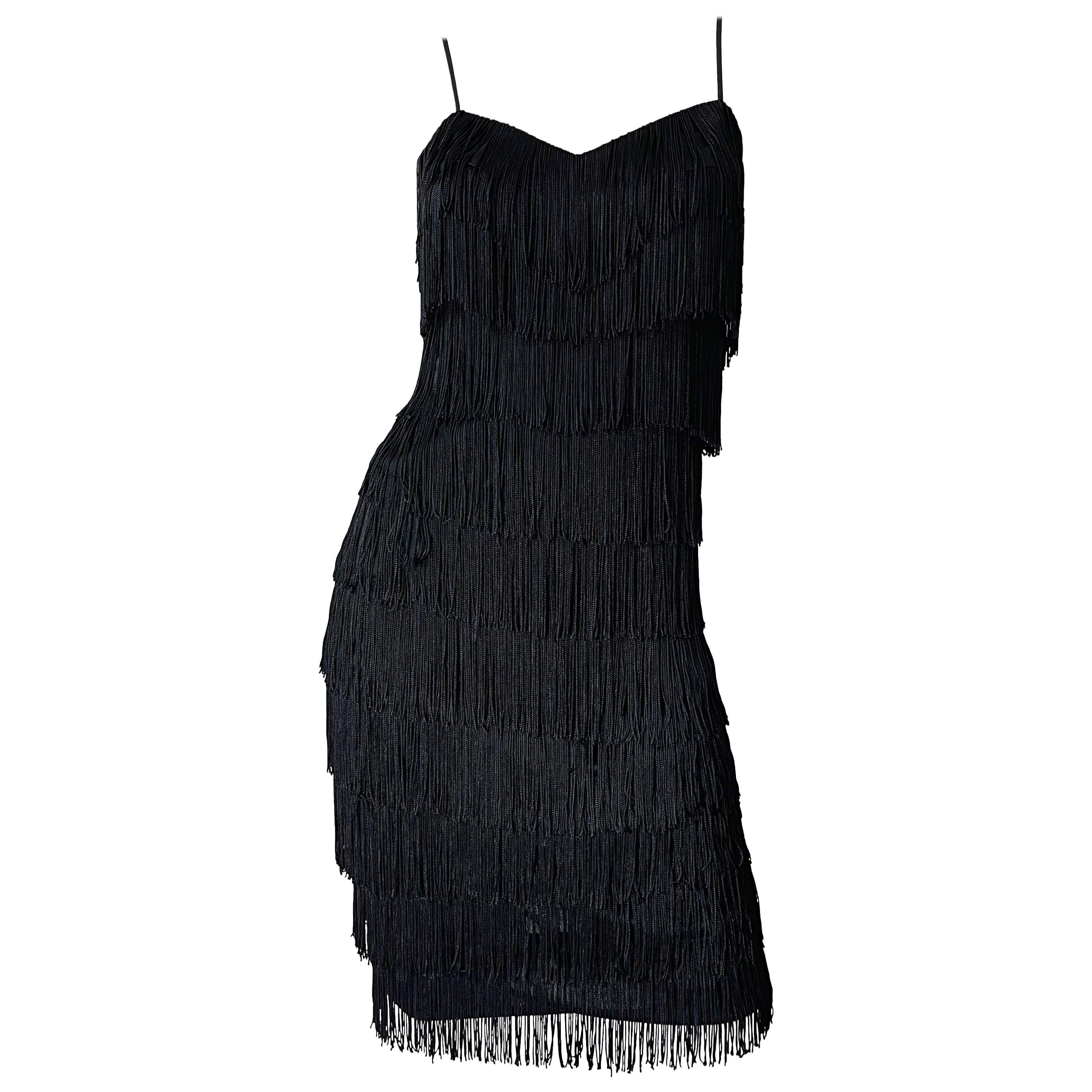 1970s Flapper Style Black Fringe Vintage 70s Does 20s Sleeveless Disco Dress