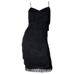 1970s Flapper Style Black Fringe Vintage 70s Does 20s Sleeveless Disco Dress