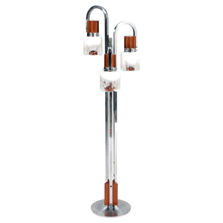 1970s Three-Light Floor Lamp Chromed Steel Murano Glass, Carlo Nason for Mazzega