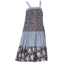 1970's Floral Cotton Homespun Prairie Dress