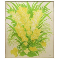 1970's Floral Painting in Yellow and Green