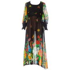 1970S Floral Poly Lurex Chiffon Boho Dress