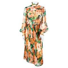 1970s Floral Printed Chiffon Prairie Dress