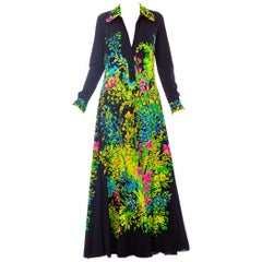 1970S MR. DINO Black Polyester Jersey Placed Floral Print Maxi Dress