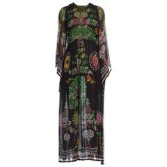 1970's Floral Silk Chiffon Dress