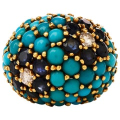 1970s Flower Turquoise Sapphire Diamond 18 Karat Gold Cluster Dome Bombe Ring