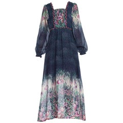 1970'S Navy Blue Polyester Chiffon Prairie Floral Boho Dress From Belgium