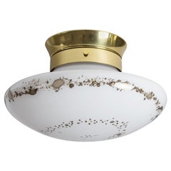 1970s Flush Mount, Glass and Brass