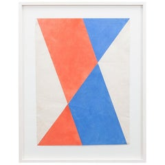 1970s Folding Paper in Red and Blue by Hermann Glöckner
