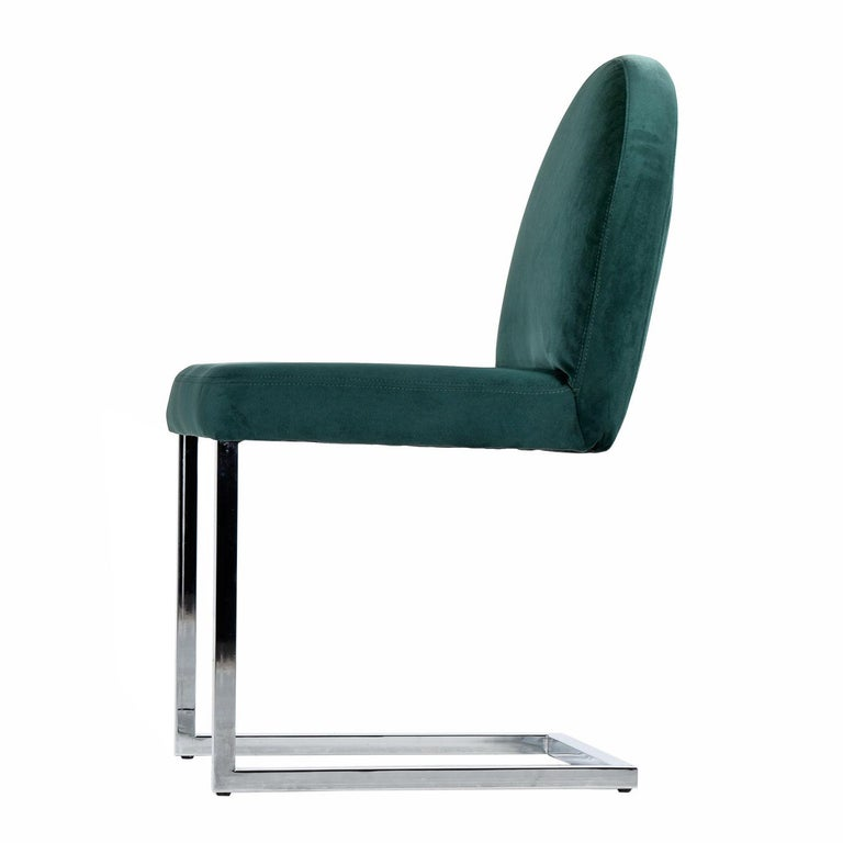 Mid-Century Modern Cantilever Chrome Dining Chairs, 1970s Forest Green Velvet Milo Baughman Style For Sale