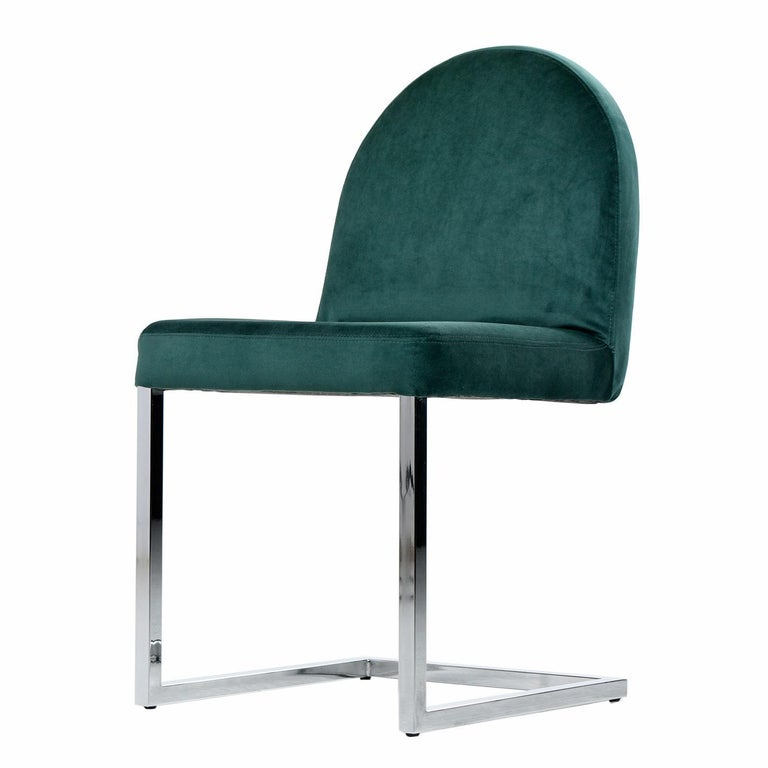 Canadian Cantilever Chrome Dining Chairs, 1970s Forest Green Velvet Milo Baughman Style For Sale