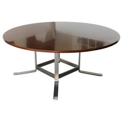 1970s Formanova Rosewood and Iron Extra-Large Round Table by Gianni Moscatelli