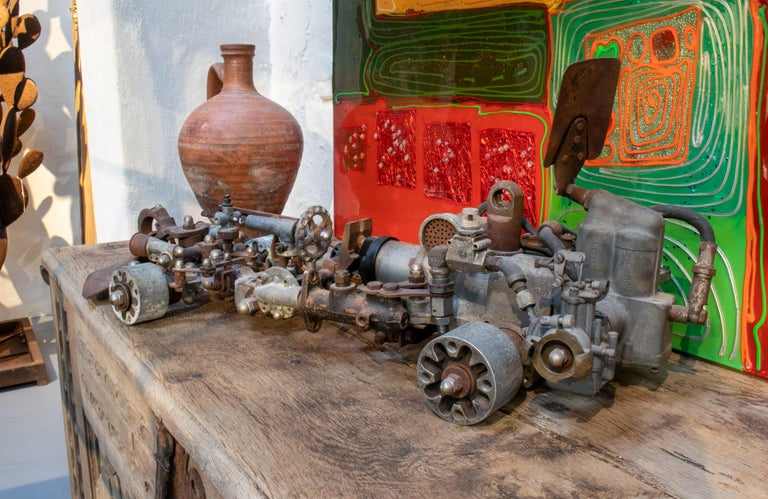 20th Century 1970s Formula 1 Car Sculpture Made with Assorted Old Mechanical Metal Pieces For Sale