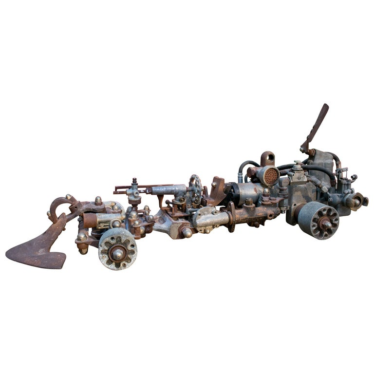 1970s Formula 1 Car Sculpture Made with Assorted Old Mechanical Metal Pieces For Sale
