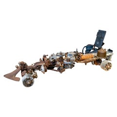 1970s Formula 1 Car Sculpture Made with Assorted Old Mechanical Metal Pieces
