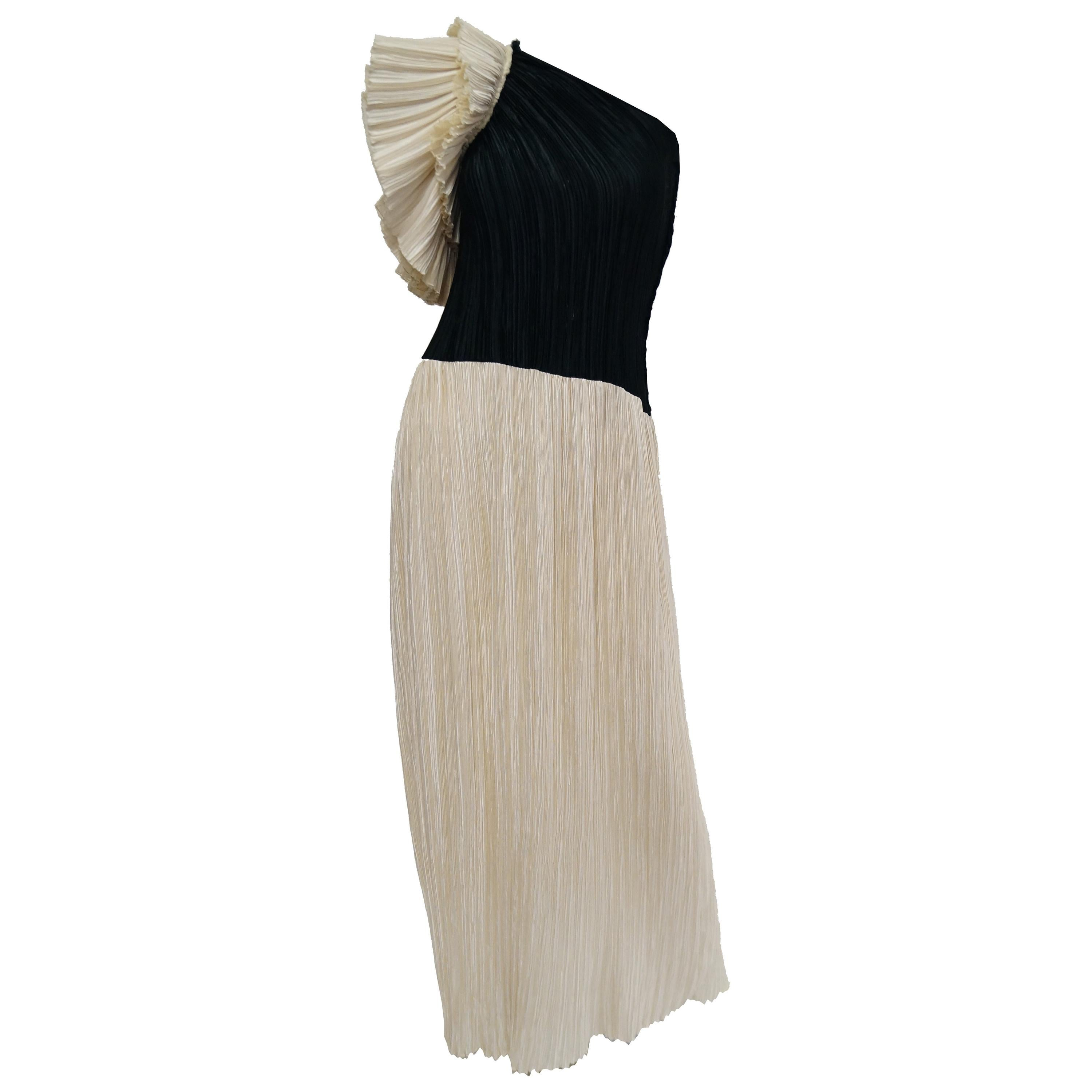 1970s Fortuny Style Off the Shoulder Black and White Pleated Dress