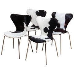 1970s, Four Cowhide Fur Dining Chairs by Arne Jacobsen & Fritz Hansen Model 3107
