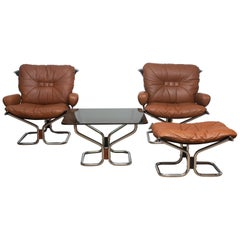 1970s Four Items Lounge Set Cognac Leather Steel by Harald Relling for Westnofa