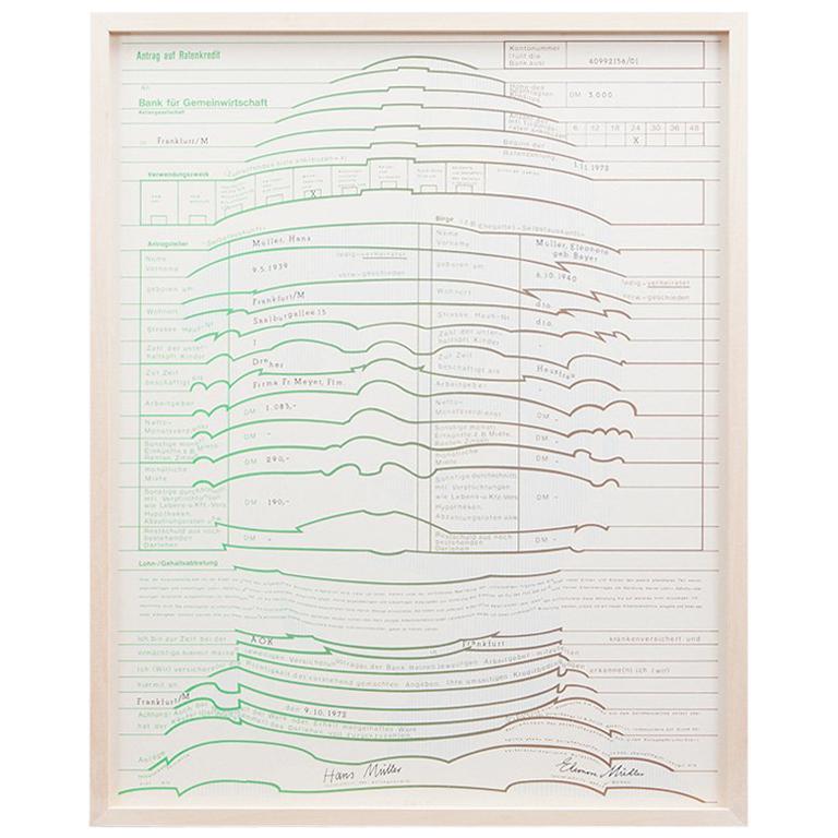 1970s Framed Serigraph by German Thomas Bayrle 'h'